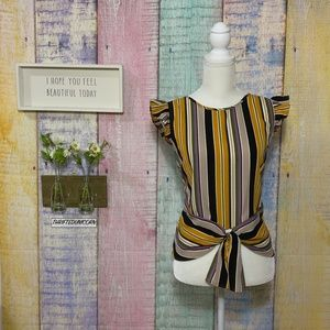 Monteau - Tie Front Striped Mustard Ruffled Top